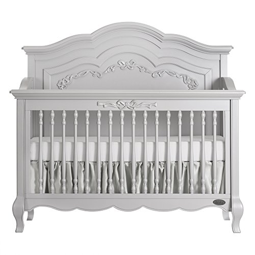 Evolur Aurora 5-in-1 Convertible Crib, Akoya Grey - Ivory Pearl Antique