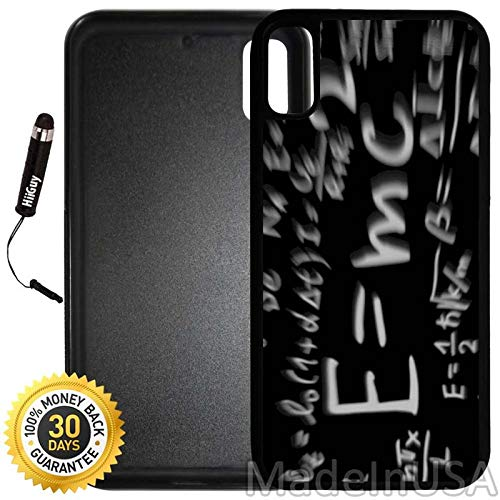 Custom iPhone X/XS Case (Theory of Relativity Einstein) Edge-to-Edge Rubber Black Cover with Shock and Scratch Protection | Lightweight, Ultra-Slim | Includes Stylus Pen by - Einstein Lcd