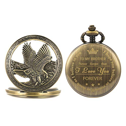 SIBOSUN Pocket Watch Personalized Engraved Back Case Gift Graduation Men to Brother Eagle Scout Quartz