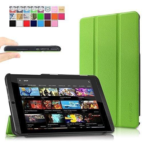 Infiland NVIDIA SHIELD Tablet K1 / NVIDIA SHIELD Tablet Hülle Case-Ultra Dünn Tri-Fold Smart-Muschel PU Leder Ultra Schlank Superleicht Ständer Smart Shell Cover Schutzhülle Etui Tasche für 2015 NVIDIA SHIELD Tablet K1 (Newest Version) / 2014 NVIDIA Shield 2 Tablet (8 Zoll)(mit Auto Schlaf / Wach Funktion)(Grün)