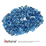 Skyflame 10-Pound Fire Glass for Fireplace Fire Pit and Landscaping, Pacific Blue Reflective, 1/4-Inch
