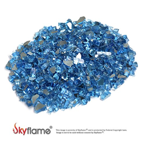 Skyflame 10-Pound Fire Glass for Fireplace Fire Pit and Landscaping, Pacific Blue Reflective, 1/4-Inch by Skyflame