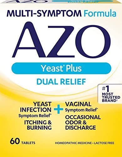 Azo Yeast Plus Dual Relief Homeopathic Medicine Yeast Infection Symptom Relief Itching Burning Vaginal Symptom Relief Occasional Odor