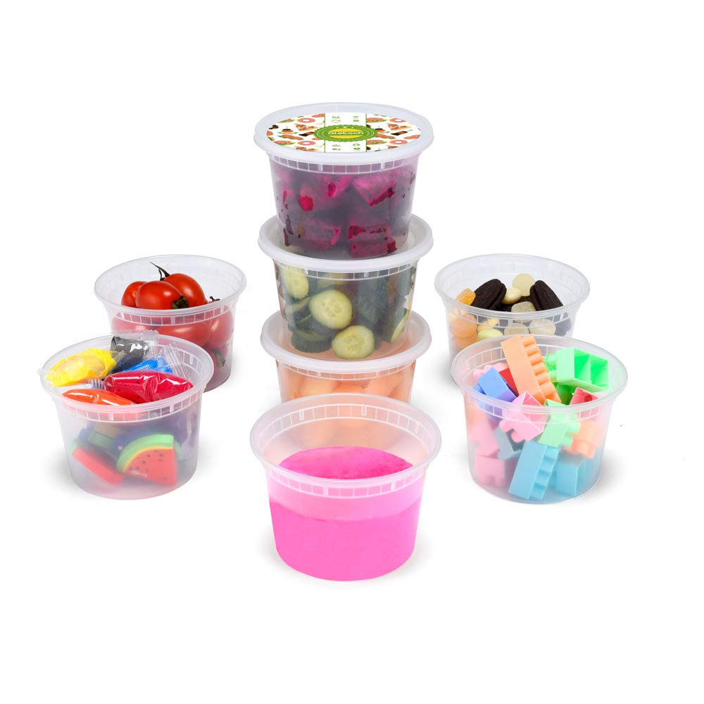 Glotoch 48pack 16oz Deli containers with lids.Food grade plastic containers BPA FREE leakproof Restaurant Deli Cups,Foodsavers,Bento Lunch Box, Portion Control,and Meal Prep Containers