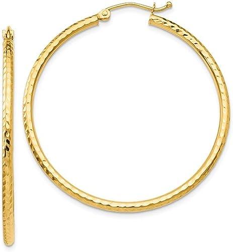 "1 1//2/"" 40mm X 3mm Diamond Cut Polished Shiny Hoop Earrings REAL 14K Yellow Gold"