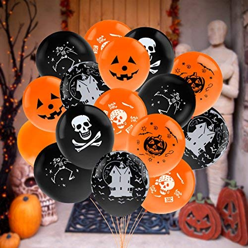 (Outgeek Halloween Balloons, 100 Pcs 12 Inch Latex Balloons with 1 Balloon Pump For Halloween Party)