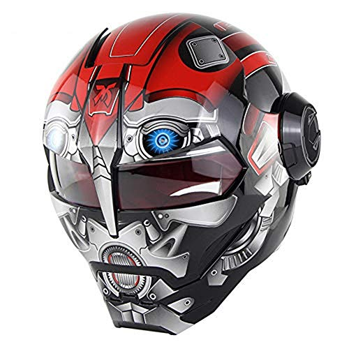 Motorcycle Helmets, Full Face Touring Motorcycle Helmet Harley Double Lens Racing Helmet Vintage Personality Cool Helmet Iron Man Motorcycle Half Open Face Helmet ABSXL