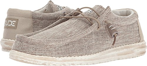 Hey Dude Men's Wally Woven Loafers, Beige, Woven Fabric, Textile, Memory Foam, 12 US M/EU 45 (Men Shoe Woven)