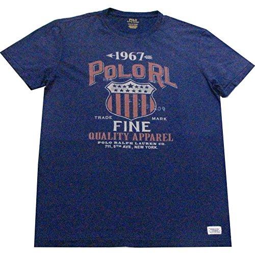豊富秘書共産主義者POLO RALPH LAUREN (ポロ ラルフローレン) 1967 POLO RLプリントTシャツ(Navy) [並行輸入品]
