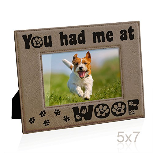 Kate Posh - You had me at WOOF Engraved Leather Picture Frame - Dog Lover Gifts, Birthday Gifts, Christmas Gifts, Pet Memorial Gifts, New Puppy Gifts, Paws and Bones Decor (5x7-Horizontal) - Dog Bone Picture Frame