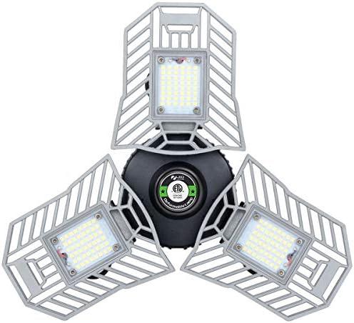 Led Garage Lights Deformable 60W Garage Light 6000Lumen Garage Led Light E26/E27 Garage Lights Illuminator 360 Garage Light for Garage Basement Workshop