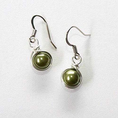 Sage Green 8 mm Simulated Pearl Dangle Earrings - Handmade Jewelry