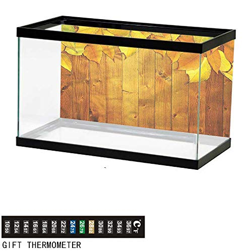 bybyhome Fish Tank Backdrop Fall,Leaves on Wooden Planks,Aquarium Background,36