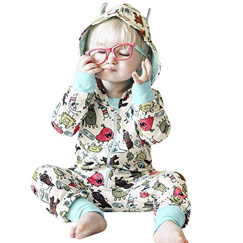 Sikye Kids Baby Boy Girl Onesies Rabbit 3D Ear Hooded Long Sleeve Jumpsuit Zipper Playsuit Infant Pajamas (Gray 2, 70 (3-6M))