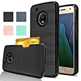 Moto G5 Plus Case, Moto X 2017 Case with HD Screen Protector,AnoKe[Card Slots Holder][Wallet] Dual Layer Heavy Duty TPU Shockproof Full Protective cover For Moto G Plus (5th Generation) KC2 Black