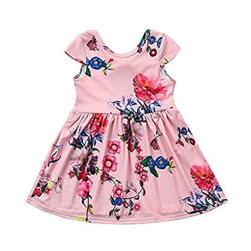 Summer Kids Toddler Baby Little Girl Clothes Floral Bowknot Bows Princess Party Dress(2T-5)