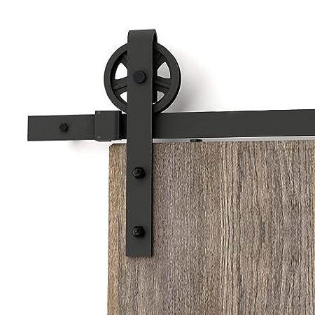 AiHom 300cm bois moderne Noir Porte coulissante en porte de grange Grange Armoire Hardware Kit de rail pour une porte