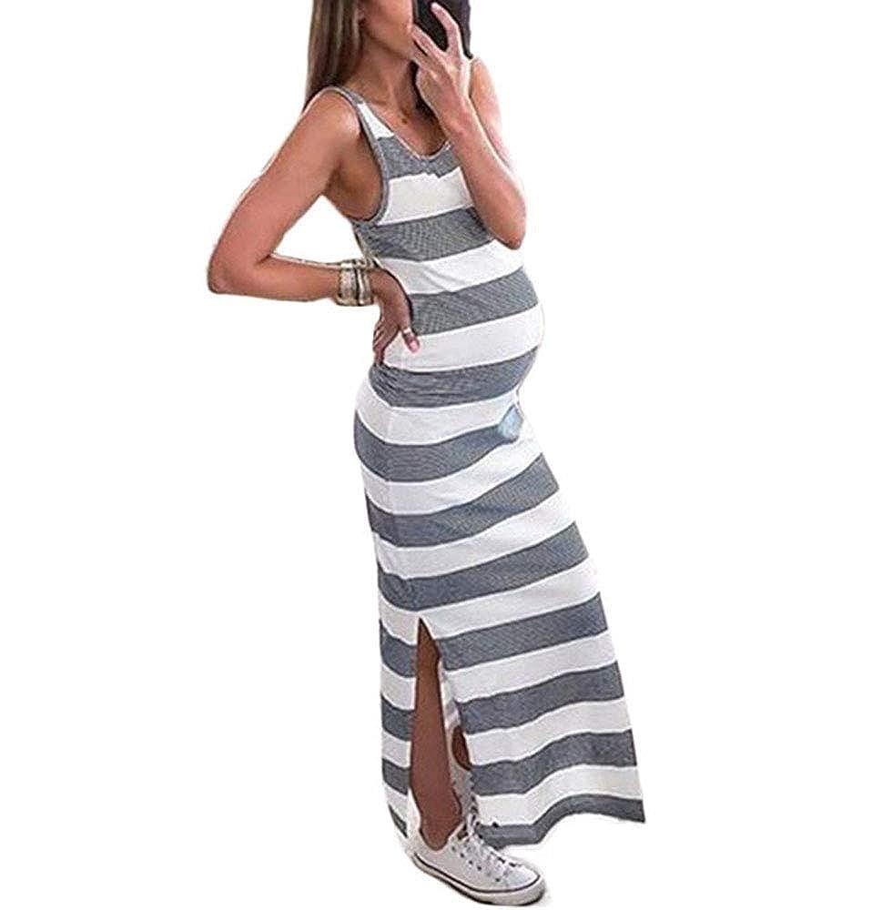 9e4a68b24c51d4 50%OFF Worclub Umstandskleid Schwangere Frauen ärmellose gestreifte Seite  Split Kleid Mummy Soft Dress Grau