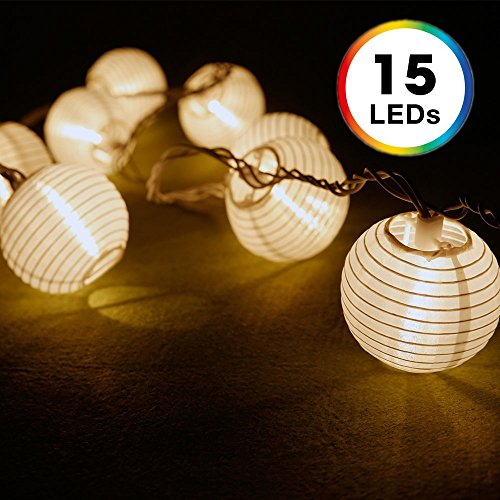 Lantern String Lights, DecorNova 10 Feet 15 LEDs Chinese Oriental Style Nylon Ball String Lights with Remote & UL Power Adapter for Christmas Fireplace Wedding Bedroom, Warm (String Lantern Lights)