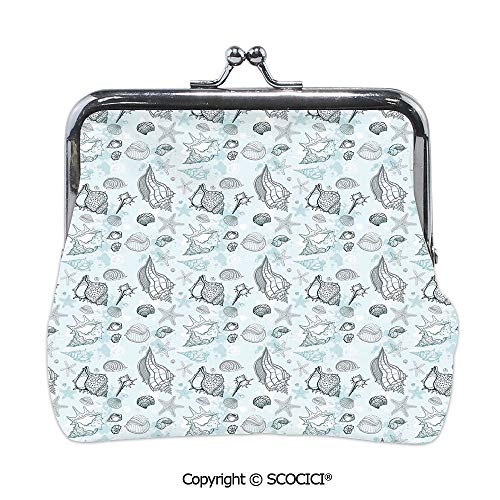 SCOCICI Girl Lightweight Wallet,Grunge Sea Underwater Life,Mini Clutch Wallet