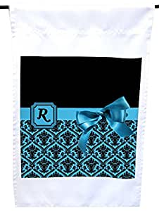 "Rikki Knight Letter ""R"" Sky Blue Monogram Damask Bow House or Garden Flag, 12 x 18-Inch Flag Size with 11 x 11-Inch Image"