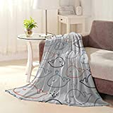 Anniutwo Lightweight Blanket Cute Whales Baby line Style Seamless Vector Pattern Fuzzy Blanket L60 xW50