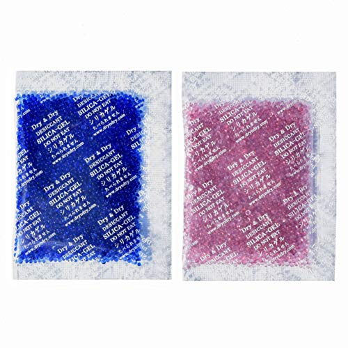 - Dry & Dry 20 Gram [30 Packets] Premium Blue Indicating(Blue to Pink) Silica Gel Packets Desiccant Dehumidifier - Rechargeable Silica Packets for Moisture