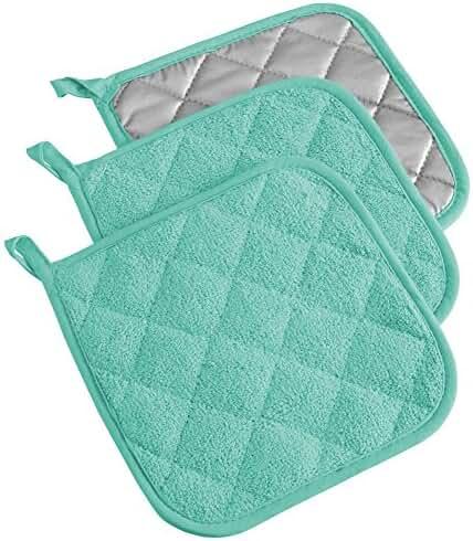 DII 100% Cotton, Machine Washable, Heat Resistant, Everyday Kitchen Basic, Terry Pot Holder, 7 x 7