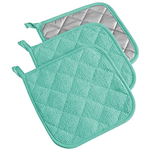 Bon DII Cotton Terry Pot Holders, 7x7 Set Of 3, Heat Resistant And Machine  Washable Hot Pads For Kitchen Cooking And Baking Aqua