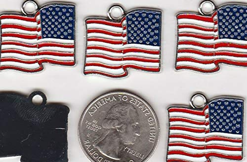 You GET 10 Metal Enamel RED White & Blue U.S. Flag Pendant Charms Vintage Crafting Pendant Jewelry Making Supplies - DIY for Necklace Bracelet Accessories by CharmingSS from CharmingStuffS