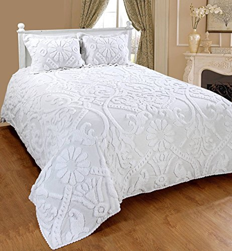 Saral Home Fashions Relief Chenille Bedspread with Sham, Queen, White (Chenille Floral)