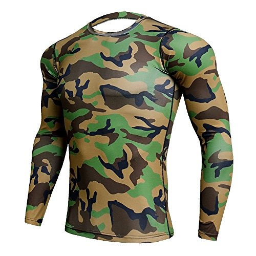 CANGHPGIN Men Sports Tights Personality Camouflage Tops Long Sleeve T-Shirt Fashion Casual Pullover (Green, X-Large) from CANGHPGIN
