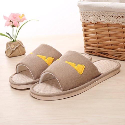 Y-Hui primavera ed estate spiaggia pantofole pantofole Casa Arredamento giovane biancheria Anti-Skid apertura sul pavimento pantofole,44/45,kaki