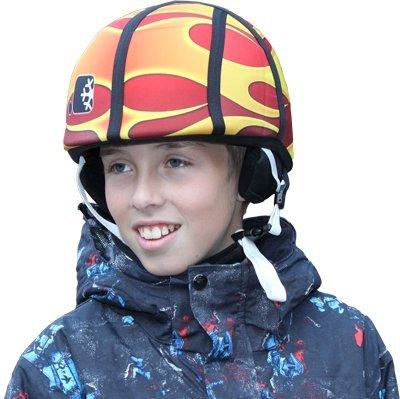 Neoprene Helmet Cover with Ticket Pocket (Orange Flame), Outdoor Stuffs