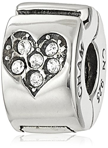 (Chamilia Sterling Silver and Swarovski Crystal Jeweled Heart Lock Bead Charm)