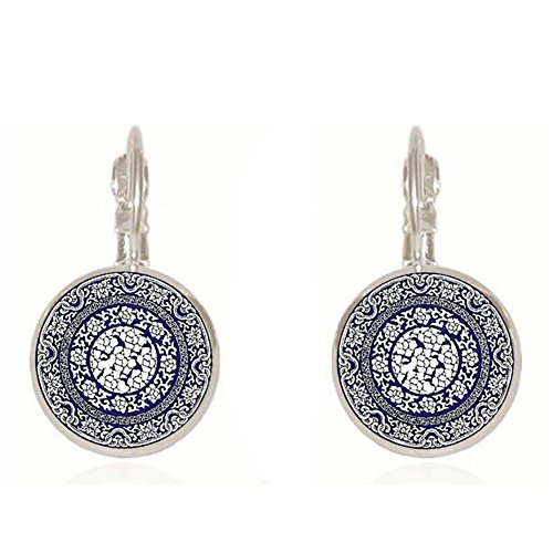 (bjduck99 Women Round Ethnic Blue and White Porcelain Leverback Earrings Clip Jewelry)
