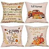 KACOPOL Happy Fall Pumpkin Spice Quotes & Fall Pumpkin Truck Throw Pillow Covers Cotton Linen Harvest Season Festival Gift Home Décor Pillow Case Cushion Cover 18'' x 18'' (Happy Fall Pumpkin # 1)