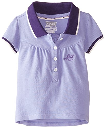 Levi's Little Girls' Polo with Pleats, Castiron Purple, 5