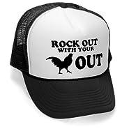 Megashirtz - Rock Out - Vintage Style Trucker Hat Retro Mesh Cap