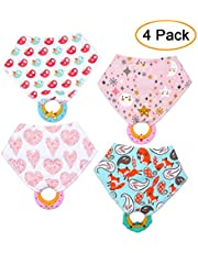 Decdeal Baby Bandana Drool Bibs and Teething Toys 4 Pack Made of Cotton & Silicone Soft Absorbent Adjustable Button Non-toxic for Home Life Travel Gift for Infant ToddlerBaby Bandana Drool Bibs and Te
