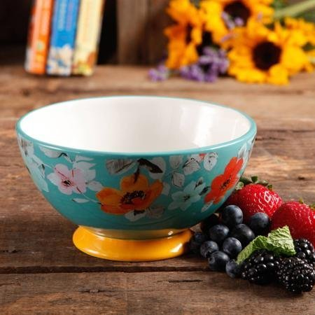 The Pioneer Woman 82713.04R Flea Market 6 Decorated Footed Bowls, Turquoise & Yellow, Set of 4 by The Pioneer Woman ()