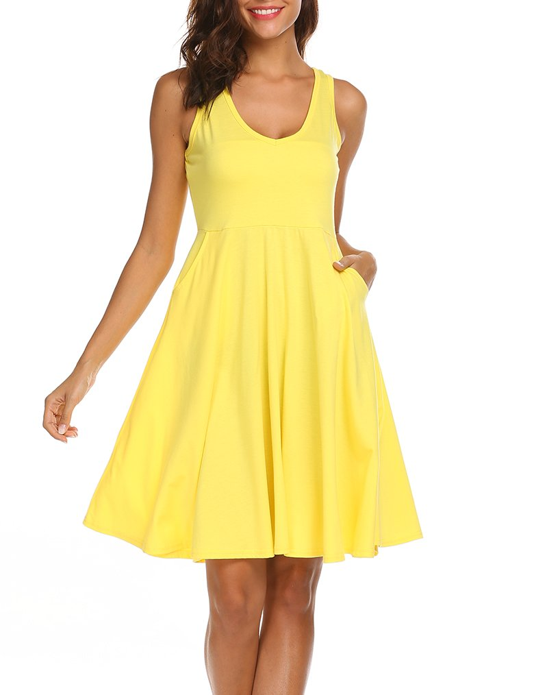 MISELON Women Casual V Neck Sleeveless A Line Flared Beach Tank Dress with Pocket (011Yellow, M)