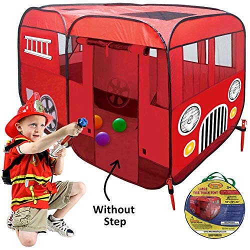 Large Fire Truck Pop-Up Play Tent (Without Step) at Front Door for Easy Access of Toddlers Boys Girls Kids to be Fireman Sam - Fire Engine Playhouse for Indoor or Outdoor – Can Fit Crib Mattress