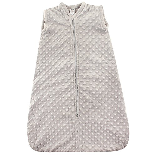 Hudson Baby Unisex Baby Long-Sleeve Plush Sleeping Bag, Sack, Blanket, Light Gray Dot Mink, 18-24 Months