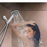 MOVEmen Hand Shower High Pressure 4 Inch 5-Setting Adjustable Shower Handheld Spray Garden Shower Overhead Shower Bathroom Supplies Shower Combination Filter Trap Water Adjustable Shower