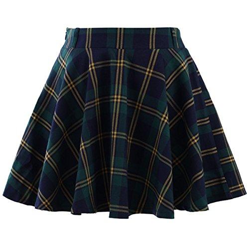 Skirts Green Plaid Girls (lovewhitewolf Green Plaid Check Skater Skirt (S))