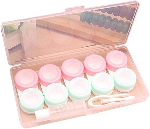 Eliky - 5 pares de estuches para lentes de contacto, bonitos y frescos rosa: Amazon.es: Hogar