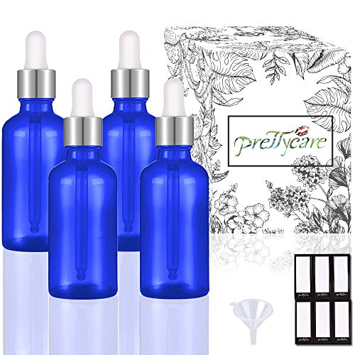 PrettyCare Eye Dropper Bottles 1oz 4 Pack (Blue Glass Bottle 30ml with Silver Caps, 12 Lables & Funnel) Cosmetic Sample…