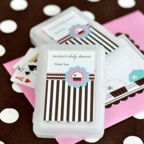 Personalized Playing Cards - Cupcake Party - Total 100 items (Cards Personalized Playing Favors Wedding)