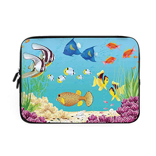 Ocean Animal Decor Laptop Sleeve Bag,Neoprene Sleeve Case/Underwater Landscape with Various Water Plants and Exotic Fishes Art Print/for Apple MacBook Air Samsung Google Acer HP DELL Lenovo - Slr Cases Underwater